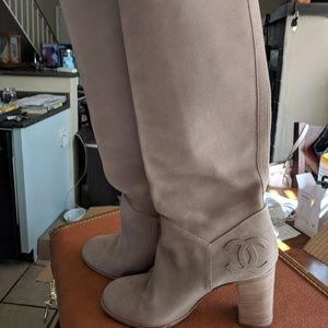 Chanel suede knee high heel boots, 9 to 9.5 US